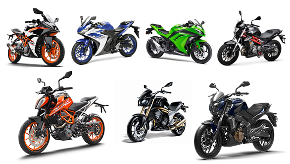 Spec comparison: 2017 KTM 390 Duke vs KTM RC 390 vs Benelli TNT 300 vs Kawasaki Ninja 300 vs Bajaj Dominar 400 vs Mahindra Mojo vs Yamaha YZF-R3