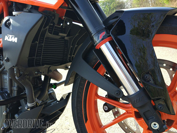The new open cartridge 43mm upside down forks on the 2017 KTM 390 Duke have 8mm less travel than before but they're vastly more sophisticated in feel and offer remarkably improved levels of control over the chassis at high speeds as well as over rough roads