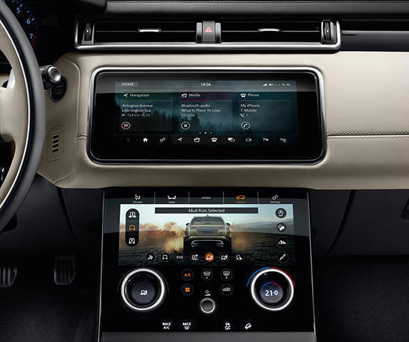 The Range Rover Velar will debut the brand's new infotainment system call Touch Pro Duo. It features two 10-inch HD touchscreens that handle separate functions