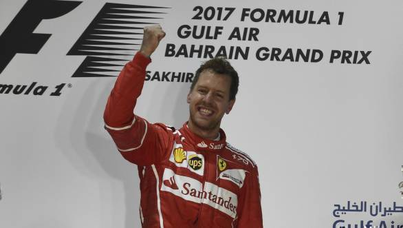 Sebastian Vettel celebrates victory at the 2017 Bahrain GP, his second win of the season
