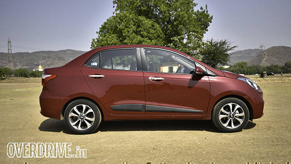 The side profile is the most familiar angle on the new Hyundai Xcent
