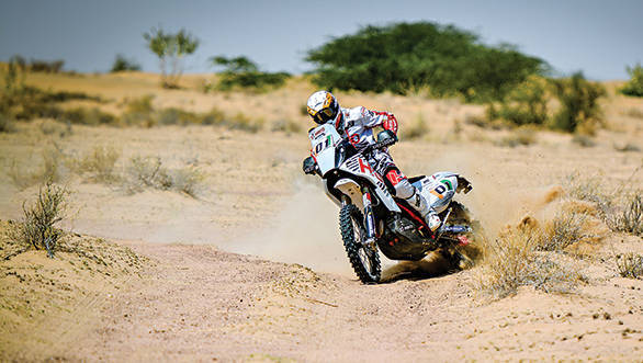 Joaquim Rodrigues won the Moto class on his Dakar-spec rally bike from Hero MotoSports Team Rally
