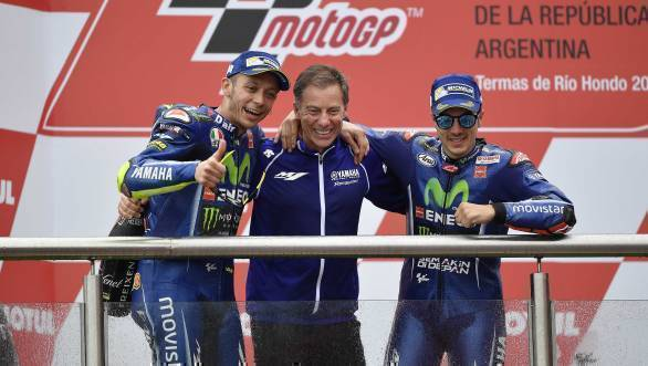 The Yamaha riders celebrate a 1-2 finish on the podium in Argentina