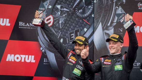 Aditya Patel and Mitch Gilbert celebrate their second place finish at Race 2 of the Blancpain GT Series Asia round at Sepang