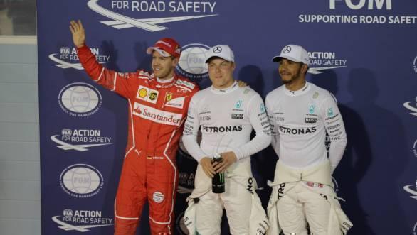 Sebastian Vettel, Valtteri Bottas and Lewis Hamilton after Qualifying at the 2017 Bahrain GP