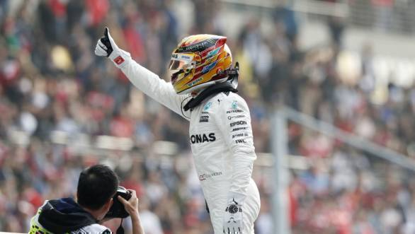 Lewis Hamilton celebrates his pole position at the 2017 Chinese GP