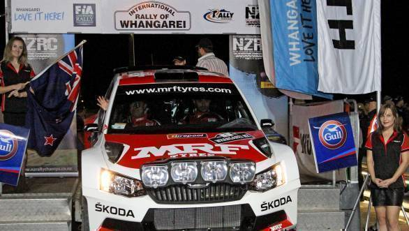 Gill and co-driver Prevot at the ceremonial flag off for the 2017 Rally of Whangarei