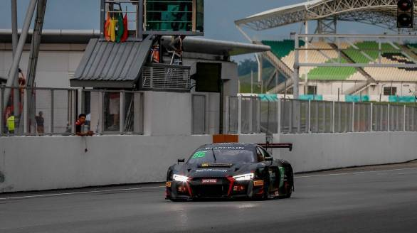 Aditya Patel crossing the chequered flag first giving ODRacing their first win in the 2017 Blancpain GT Series Asia at Sepang