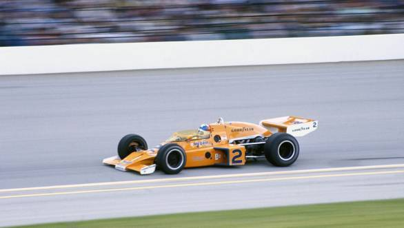 Johnny Rutherford at the wheel of his winning McLaren at the 1976 Indy 500