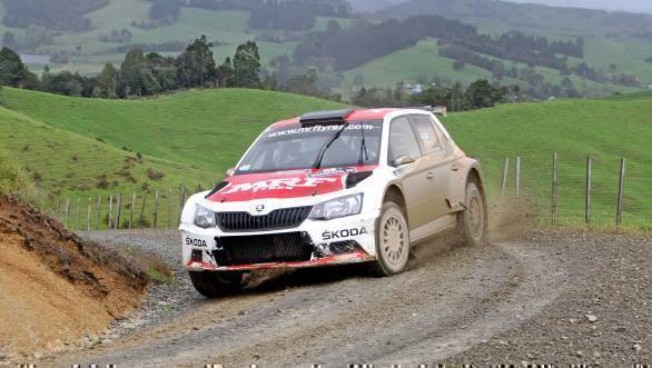Gill in action on the stages of the Rally of Whangarei
