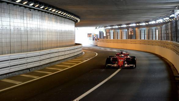 Vettel in the famed tunnel at Monaco