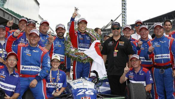 The Andretti Autosport Team celebrates their victory at the 2017 Indy 500