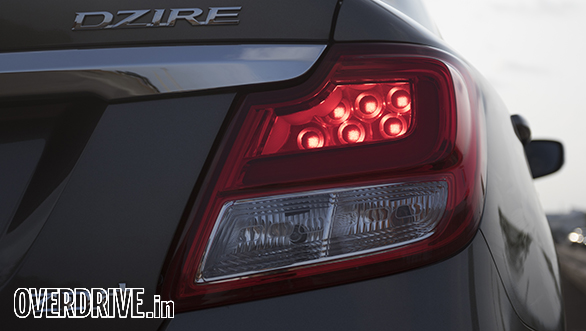 The circular detailing within the Maruti Suzuki Dzire's taillight is a smart and premium touch