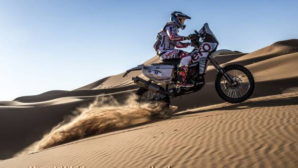 CS Santosh took 17th place overall in the 2017 Merzouga Rally