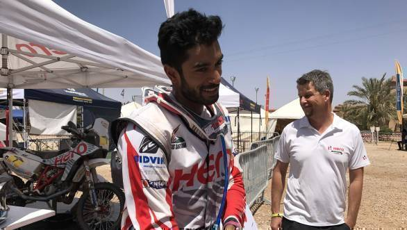 CS Santosh is all smiles after the second stage of the 2017 Merzouga Rally