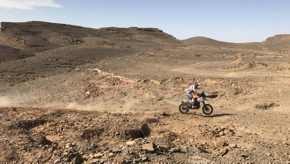 CS Santosh pins the throttle and makes his way up a challenge trail on his Hero Speedbrain 450 on Stage 3 of the 2017 Afriquia Merzouga Rally