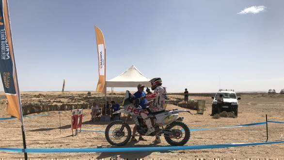 JRod waits to begin the second loop of Stage 3 of the Merzouga Rally, after the issues with his bike's coolant system were sorted out