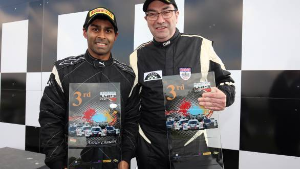 Karun and team-mate Steve Tandy with their trophies at Donington Park