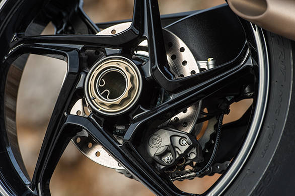 The Brutale's rear wheel is this delicious alloy design that exploits fully the visuals permitted by the single-sided swingarm
