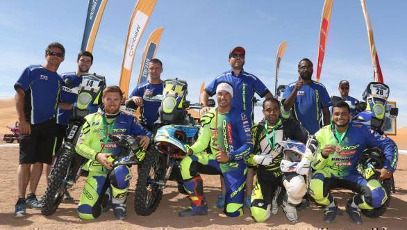 The Sherco TVS Racing team at the finish of the 2017 Merzouga Rally