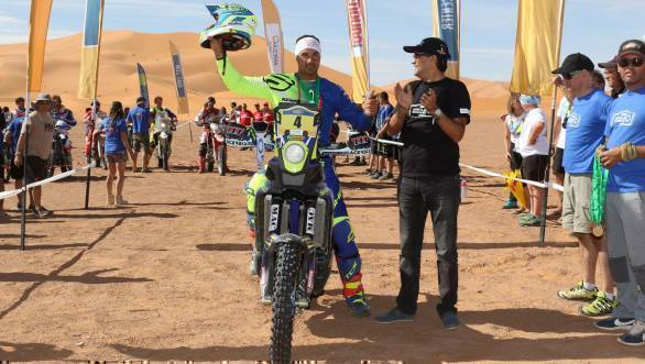 Joan Pedrero Garcia took fourth place overall for Sherco TVS at the 2017 Merzouga Rally