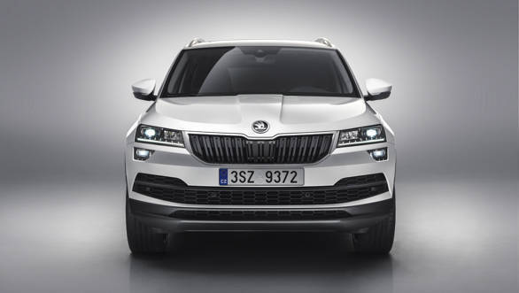 The front profile of the Skoda Karoq bears heavy resemblance to the Kodiaq SUV