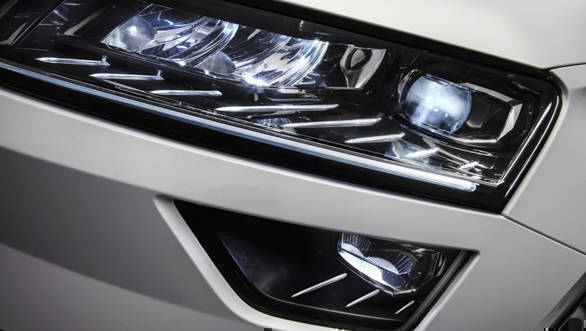 The Skoda Karoq gets the optional all-LED crystalline finished headlights with DRLs, a design trait that is expected to be seen on the brand's SUV range in the future as well