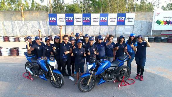 The 15 women racers selected to compete in the TVS Ladies - width=