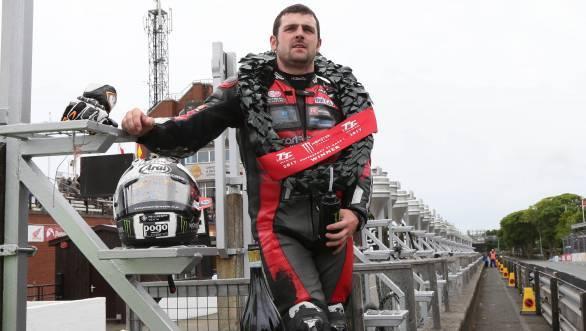 Michael Dunlop after winning the Supersport TT Race 1 at the 2017 Isle of Man TT