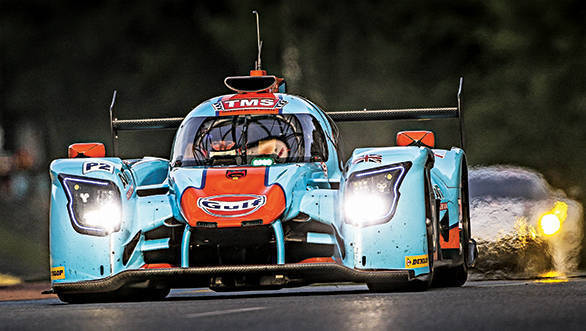 Two Gulf-liveried cars cross the finish line at 2017 24 Hours of Le Mans