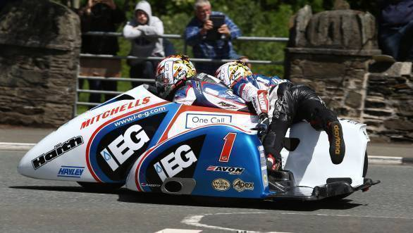 Ben and Tom Birchall on their way to victory at the second Sure Sidecar TT