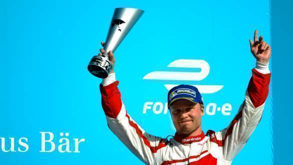 Felix Rosenqvist on the second step of the podium at Race 2 of the Berlin ePrix