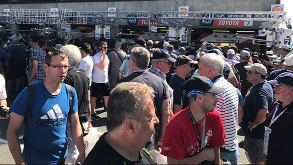 Quite a crowd outside the Toyota garage earlier today, thanks to Kamui Kobayashi's blistering lap that shattered the record at Le Mans en route pole!