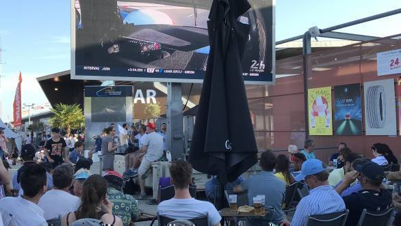 How the fans watch Le Mans. Beer, a big screen, and the freedom to move from corner to corner when they choose to