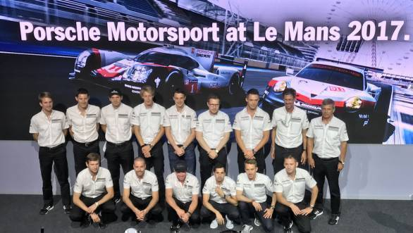 The Porsche LMP1 drivers and GTE drivers, with Fritz Enzinger and Dr Frank-Steffen Walliser at the Porsche press conference ahead of the 24 Hours of Le Mans