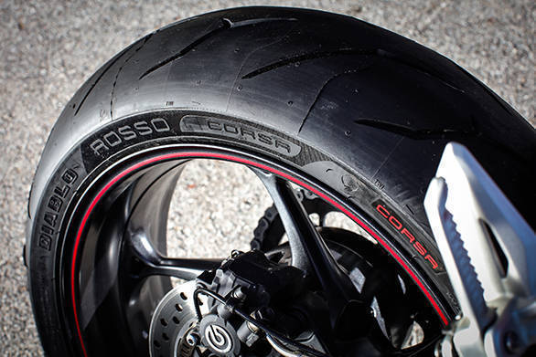 The Street Triple R also rides on Pirelli Diablo Rosso Corsa rubber
