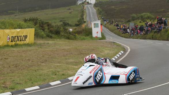 Ben Birchall/Tom Birchall (LCR/IEG Racing) at the Creg ny Baa during the Sure Sidecar TT Race. (PICTURE BY DAVE KNEEN/PACEMAKER PRESS)
