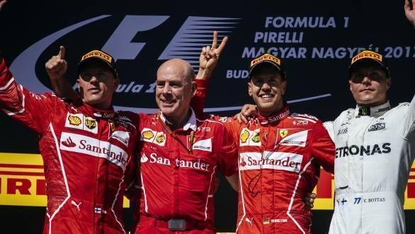 2017 F1 Hungarian GP podium - Raikkonen, Jock Clear, Vettel, Bottas