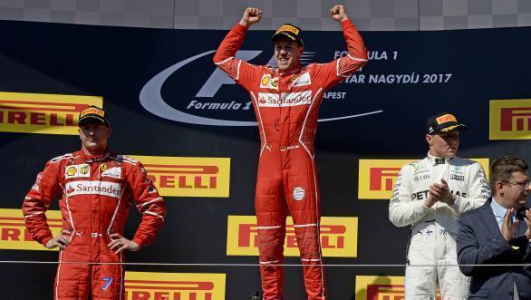 The win means Vettel now has a 14-point lead over rival Lewis Hamilton in the 2017 Drivers' Championship