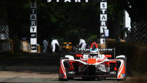 The Mahindra M4Electro claimed the eRecord at Goodwood with a time of 48.59s.