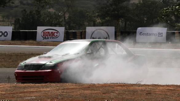 Arjun Narendran's car packed up during qualifying for the ITC races