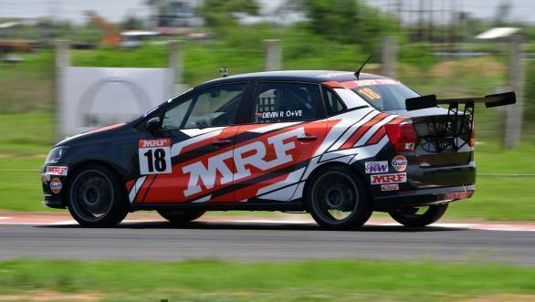 Guest driver, Devin Robertson, from South Africa, en route victory at Race 1 of Round 2 of the Volkswagen Ameo Cup