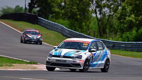 Dhruv Mohite leads the second race at Round 2 of the 2017 VW Ameo Cup