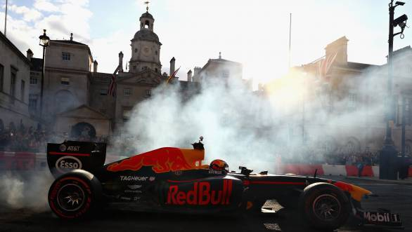 Max Verstappen driving the Red Bull Racing RB7 during F1 Live London at Trafalgar Square in London, England.  - width=