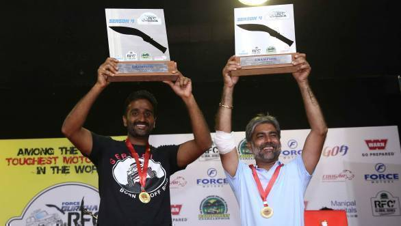 Kirpal Singh Tung and Gurmeet Virdi with their winners' trophies at the prize distribution ceremony of the 2017 RFC India