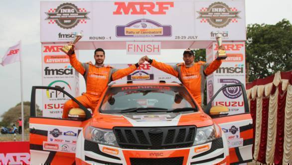 Gaurav Gill and Musa Sherif celebrate their win at the Rally of Coimbatore, Rd 1 of the 2017 Indian National Rally Championship