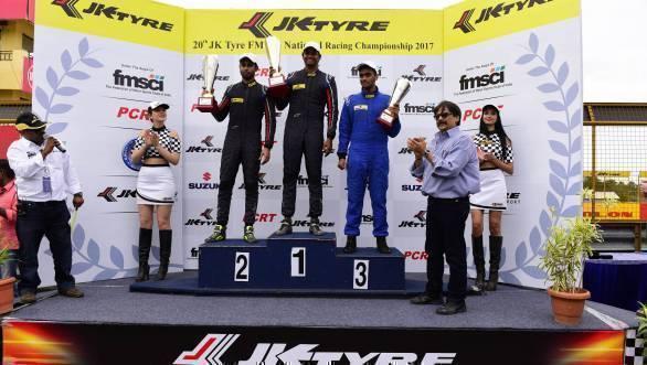 JK NRC Euro 17 podium Anindith Reddy, Vishnu Prasad, Nayan Chatterjee