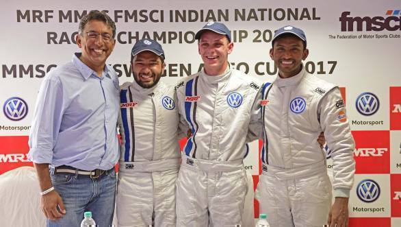 (L-R) Sirish Vissa, head of VW Motorsport India with drivers Karminder Pal Singh, Devin Robertson and Sandeep Kumar