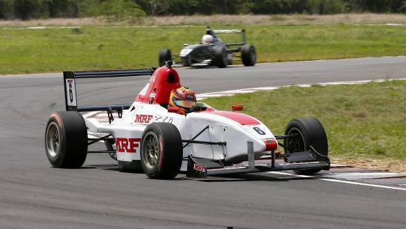 Sandeep Kumar, on his way to victory in the second MRF FF1600 race of Round 3 of the championship