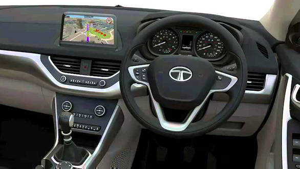 2017 Tata Nexon: The steering wheel and the instrument cluster looks similar to that seen on the Bolt and the Tiago. However, the large touchscreen infotainment system should be the highlight of the cabin